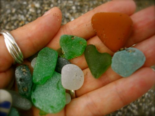 Love in the beach glass