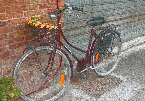 Bicycle-with-flowered-basket