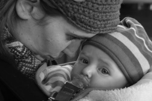 Mama and ryder BW