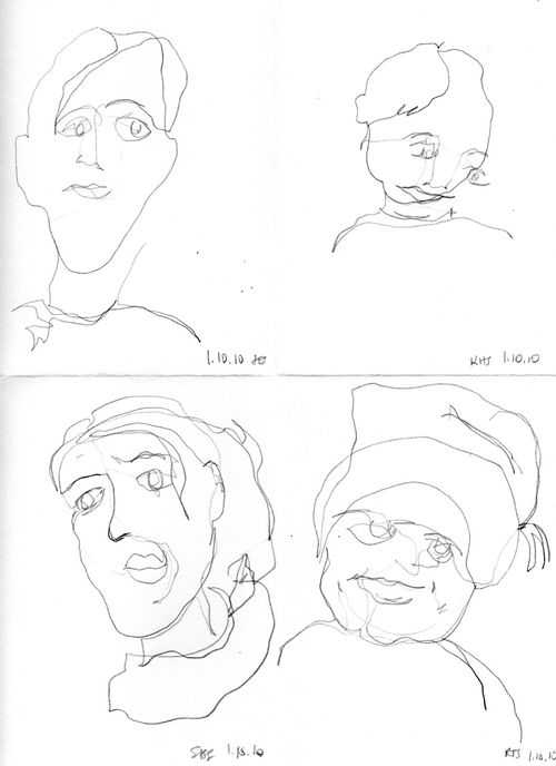 4 faces blind contour