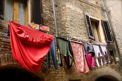 Red laundry hanging ETSY
